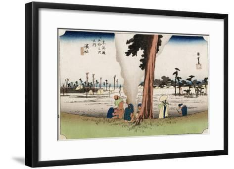 Winter View, Hamamatsu, from the Series 'The Fifty-Three Stations of the Tokaido', Circa 1834-Ando Hiroshige-Framed Art Print