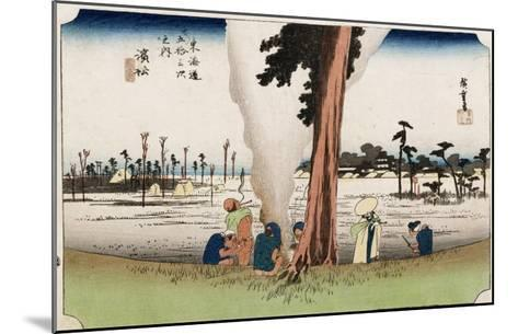 Winter View, Hamamatsu, from the Series 'The Fifty-Three Stations of the Tokaido', Circa 1834-Ando Hiroshige-Mounted Giclee Print