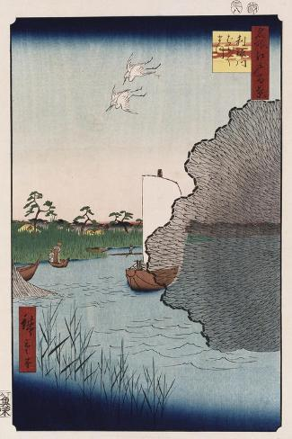 Scattered Pine Along Tone River', from the Series 'One Hundred Views of Famous Places in Edo'-Ando Hiroshige-Stretched Canvas Print