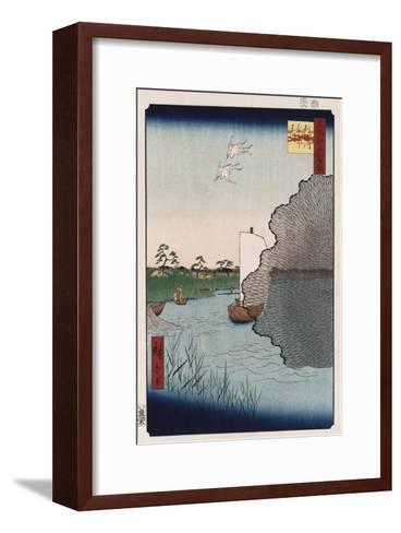 Scattered Pine Along Tone River', from the Series 'One Hundred Views of Famous Places in Edo'-Ando Hiroshige-Framed Art Print