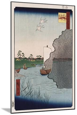 Scattered Pine Along Tone River', from the Series 'One Hundred Views of Famous Places in Edo'-Ando Hiroshige-Mounted Giclee Print