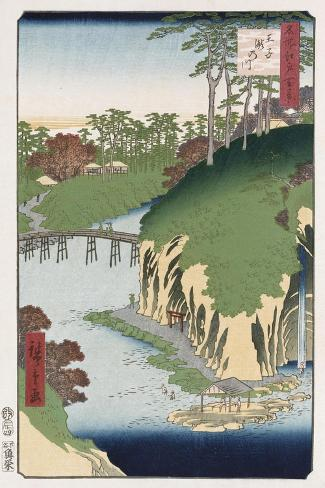 River of Waterfalls, Oji', from the Series 'One Hundred Views of Famous Places in Edo'-Hashiguchi Goyo-Stretched Canvas Print
