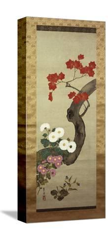 Autumn Flowers-Okada Beisanjin-Stretched Canvas Print