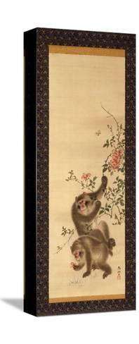 Monkeys and Roses-Hashiguchi Goyo-Stretched Canvas Print