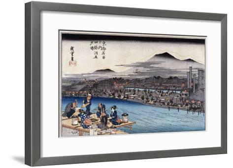 Cool of the Evening at Shijo Riverbed. from the Series 'Famous Places of Kyoto'-Hashiguchi Goyo-Framed Art Print