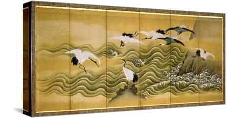Cranes and Wave, Ink, Colour and Gold on Silk-Tani Bunchu-Stretched Canvas Print
