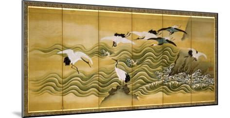 Cranes and Wave, Ink, Colour and Gold on Silk-Tani Bunchu-Mounted Giclee Print