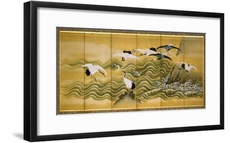Cranes and Wave, Ink, Colour and Gold on Silk-Tani Bunchu-Framed Art Print