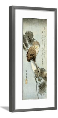 The Crescent Moon and Owl Perched on Pine Branches, Chu-Tanzaku-Kishi Chikudo-Framed Art Print