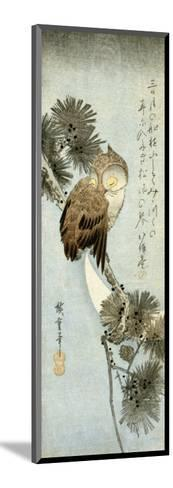 The Crescent Moon and Owl Perched on Pine Branches, Chu-Tanzaku-Kishi Chikudo-Mounted Giclee Print