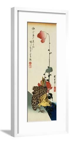 Quail and Wild Poppies-Kishi Chikudo-Framed Art Print