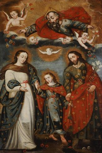 The Sacred Family, Anonymous, Cuzco School, 18th Century-Jose Agustin Arrieta-Stretched Canvas Print