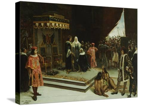 Columbus Before the Spanish Court after His Return from the Americas, 1894-Jose Agustin Arrieta-Stretched Canvas Print