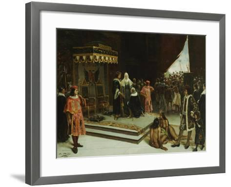 Columbus Before the Spanish Court after His Return from the Americas, 1894-Jose Agustin Arrieta-Framed Art Print