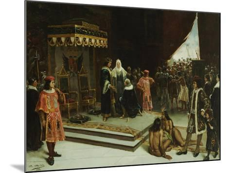 Columbus Before the Spanish Court after His Return from the Americas, 1894-Jose Agustin Arrieta-Mounted Giclee Print