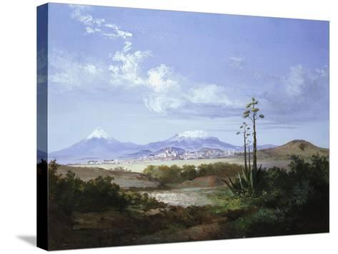 The City of Puebla with Volcanoes, 1879-Salvador Murillo-Stretched Canvas Print