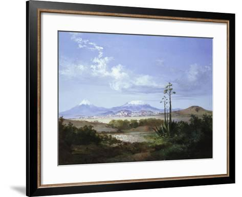 The City of Puebla with Volcanoes, 1879-Salvador Murillo-Framed Art Print