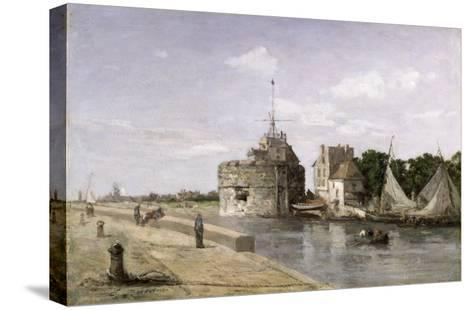 The Tower of Francis I at Le Havre, 1854-Eug?ne Boudin-Stretched Canvas Print