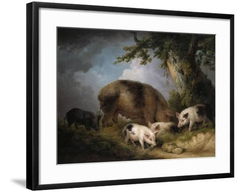 A Sow and Her Four Piglets in a Wooded Landscape-Henry Thomas Alken-Framed Art Print
