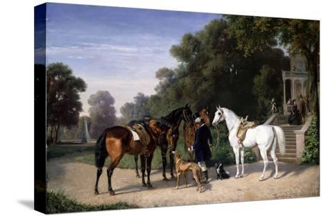 Awaiting the Departure, 1861-Henry Thomas Alken-Stretched Canvas Print