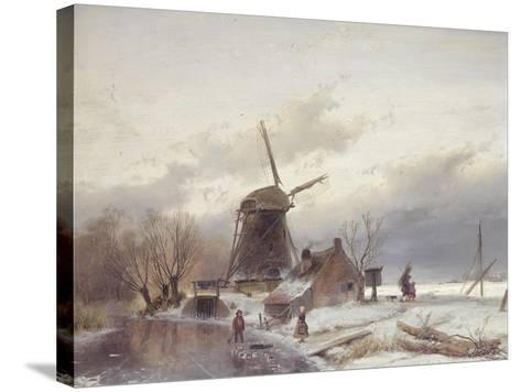 A Frozen River Landscape with a Windmill-Sir Lawrence Alma-Tadema-Stretched Canvas Print