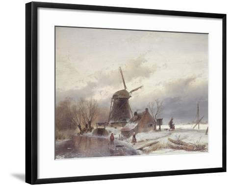 A Frozen River Landscape with a Windmill-Sir Lawrence Alma-Tadema-Framed Art Print