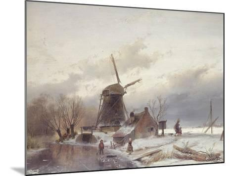 A Frozen River Landscape with a Windmill-Sir Lawrence Alma-Tadema-Mounted Giclee Print