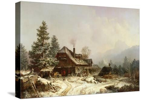 The Old Mill in Winter-Eug?ne Boudin-Stretched Canvas Print
