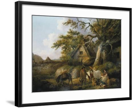 Travellers at Rest Beside a Row of Cottages, 1792-Canaletto-Framed Art Print