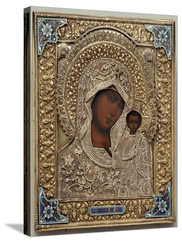 An Enamel and Silver-Gilt Icon of the Virgin Kazanskaya, the Oklad Marked Moscow, 1899-1908--Stretched Canvas Print