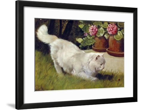 A White Persian Cat with a Ladybird-Cecil Aldin-Framed Art Print