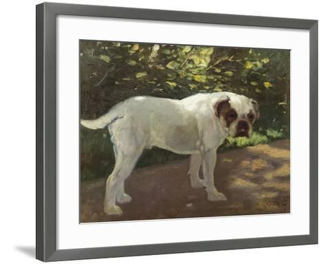 A Bulldog on a Garden Path-Cecil Aldin-Framed Art Print