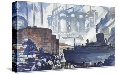 Refinery Turns Petroleum Into Gas for the War-Thornton Oakley-Stretched Canvas Print