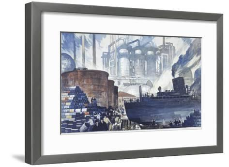 Refinery Turns Petroleum Into Gas for the War-Thornton Oakley-Framed Art Print