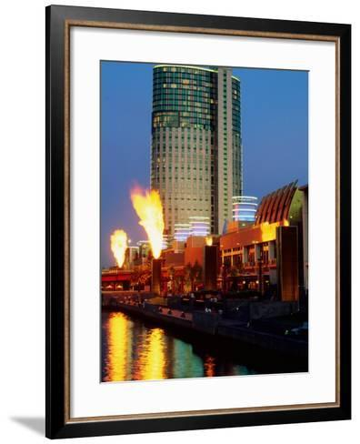 Crown Casino with Riverside Flame Display, Melbourne, Victoria, Australia-Christopher Groenhout-Framed Art Print