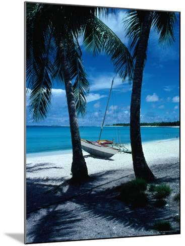 Outrigger Canoe on a Palm-Fringed Beach, Marshall Islands-Oliver Strewe-Mounted Photographic Print