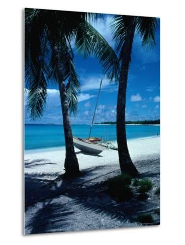 Outrigger Canoe on a Palm-Fringed Beach, Marshall Islands-Oliver Strewe-Metal Print