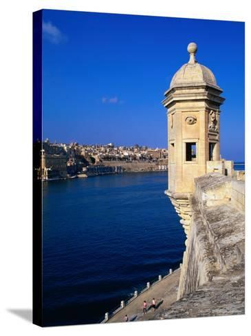 The Vedette at Senglea Overlooking the Grand Harbour, Valletta, Malta-Michael Gebicki-Stretched Canvas Print