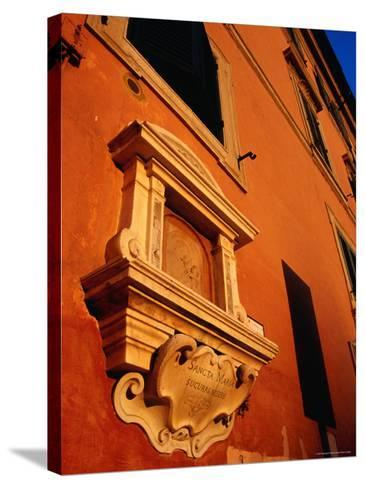 Late Afternoon Glow on Building in Trastevere, Rome, Italy-Glenn Beanland-Stretched Canvas Print