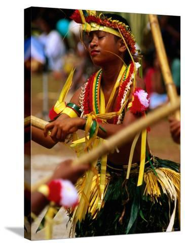 Young Female Stick Dancer, Yap Day Festival-John Elk III-Stretched Canvas Print
