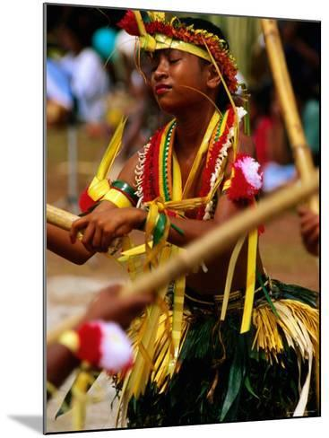 Young Female Stick Dancer, Yap Day Festival-John Elk III-Mounted Photographic Print