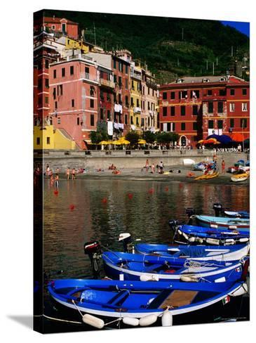 Harbour Boats on Ligurian Sea and Waterfront Buildings, Vernazza, Liguria, Italy-Glenn Van Der Knijff-Stretched Canvas Print