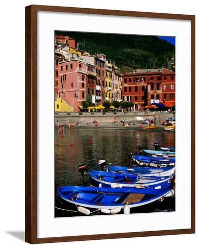 Harbour Boats on Ligurian Sea and Waterfront Buildings, Vernazza, Liguria, Italy-Glenn Van Der Knijff-Framed Art Print