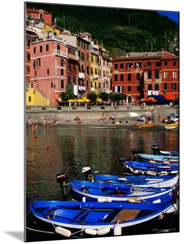 Harbour Boats on Ligurian Sea and Waterfront Buildings, Vernazza, Liguria, Italy-Glenn Van Der Knijff-Mounted Photographic Print