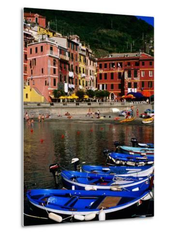 Harbour Boats on Ligurian Sea and Waterfront Buildings, Vernazza, Liguria, Italy-Glenn Van Der Knijff-Metal Print