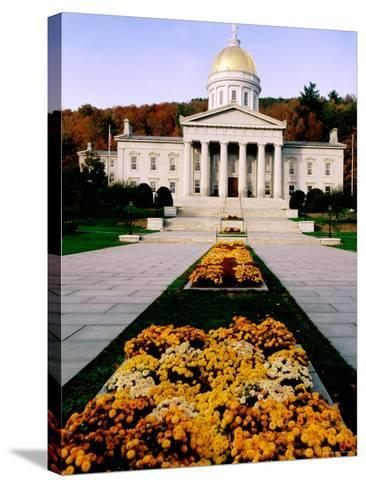 Flower Beds in Front of Vermont State Capitol, Montpelier, Vermont-John Elk III-Stretched Canvas Print