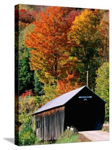 Autumn Leaves Surrounding Cilley Covered Bridge, Vermont-John Elk III-Stretched Canvas Print