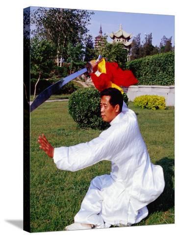 Martial Arts Master Practising Routine in Xihai Park in Tongzhou, Beijing, China-Krzysztof Dydynski-Stretched Canvas Print