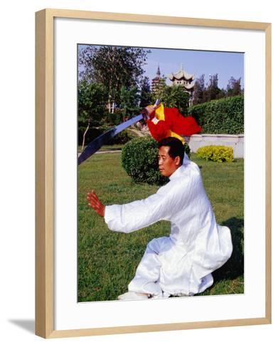 Martial Arts Master Practising Routine in Xihai Park in Tongzhou, Beijing, China-Krzysztof Dydynski-Framed Art Print
