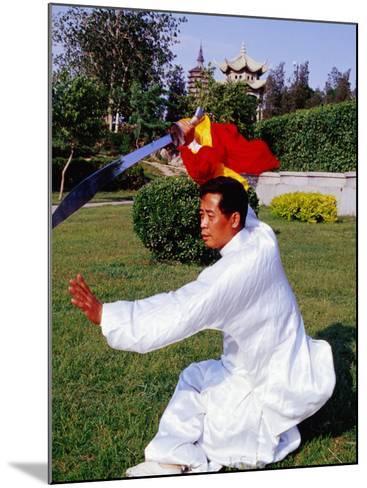 Martial Arts Master Practising Routine in Xihai Park in Tongzhou, Beijing, China-Krzysztof Dydynski-Mounted Photographic Print